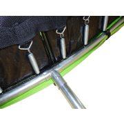 Capetan® Safe Fly extra stabil íves lábú 251cm átm. premium biztonsági trambulin védőhálóval, gyermekeknek optimalizált alacsony ugrálófelülettel
