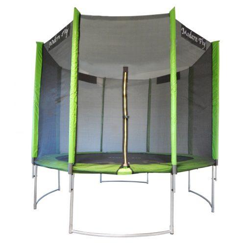 Capetan® Modern Fly íves, borulás elleni lábszerkezetű 305cm átm.kültéri trambulin PVC anyagú hálotartóoszlop burkolattal , extra magas hálóval, magas ugrálófelülettel