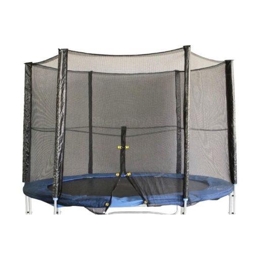 Védőháló 305 cm-es trambulinhoz cipzáras kivitel (külső hálós oszlopokra) 3 W láb, 6 hálótartó oszlopra húzható modellekhez a rögzítő zsákrész kék 180cm , fekete zsák esetén standard 166cm hálótartó oszlophoz mefelelő