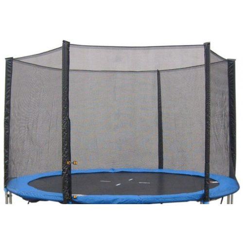 Védőháló 305 cm átmérőjű 4 W lábú 8 hálótartó oszlopos  trambulinhoz, kék zsákrésszel