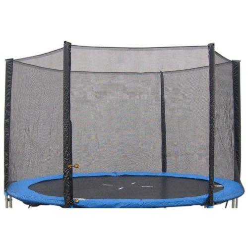 Védőháló 305 cm átmérőjű 4 W lábú 8 hálótartó oszlopos  trambulinhoz, kék zsákrésszel, cca 180cm magas háló