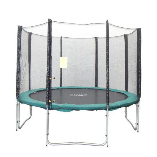 Capetan® Olive 305 cm átm. 4 w lábbal 8 hálótartó oszloppal rendelkező kültéri Luxus trambulin szett védőhálóval, 160Kg teherbírással, 64db rugóval - A megnövelt számú láb és rugó miatt  a legstabilabb trambulin